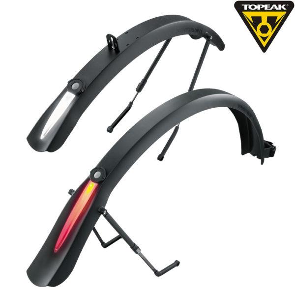 Topeak DeFender iGlow TX комплект крыльев д/дорожного велосипеда с широкими покрышками со свет. полосой