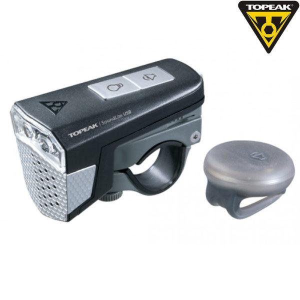 Передний фонарь с сигналом Topeak SoundLite USB wireless цв.чёрный